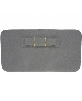 Γυναικείο πορτοφόλι με φιογκάκι γκρι
