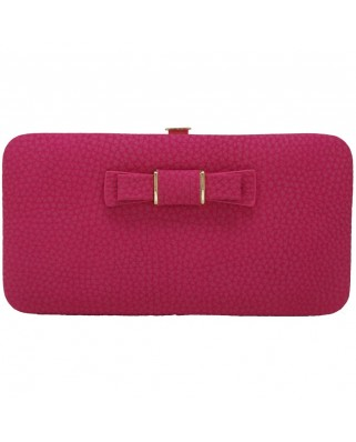 Γυναικείο πορτοφόλι με φιογκάκι φούξια