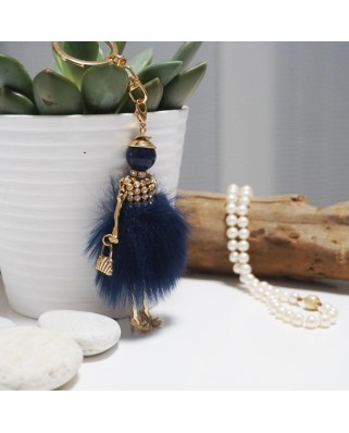 Fur Doll Bag Keychain Blue