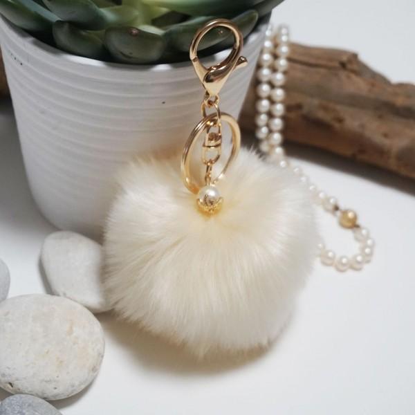 Fur Ball Bag Keychain Beize