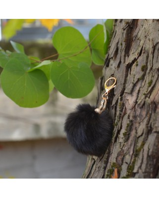 Fur Ball Bag Keychain Black