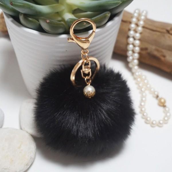 Fur Ball Bag Keychain Black