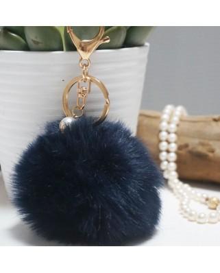 Fur Ball Bag Keychain Blue