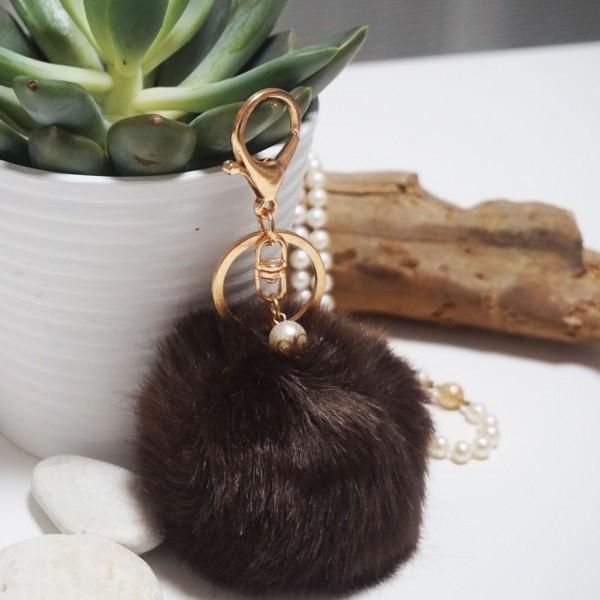 Fur Ball Bag Keychain Brown