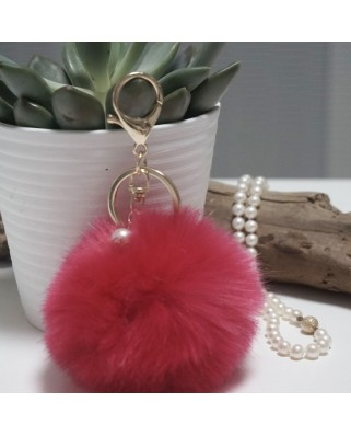 Fur Ball Bag Keychain Fuchsia