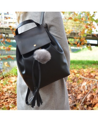 Fur Ball Bag Keychain Grey