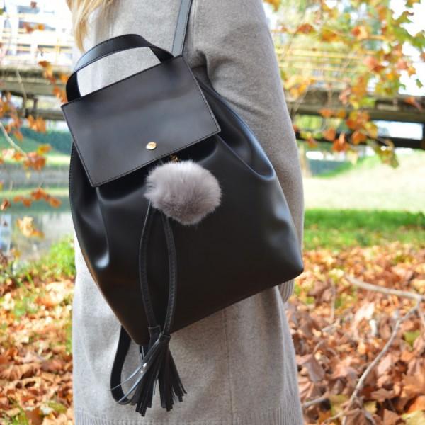 Fur Ball Bag Keychain Grey