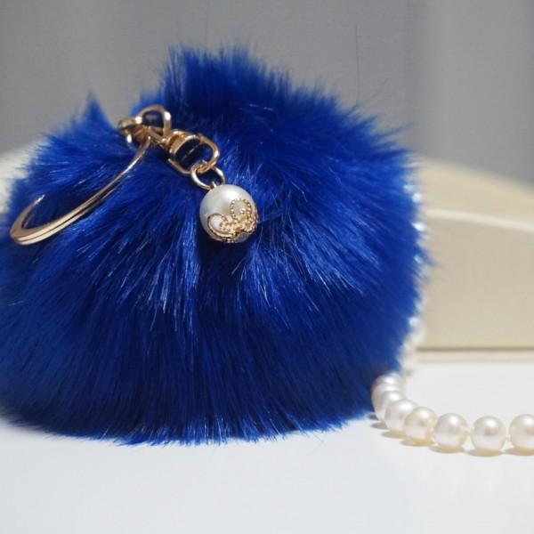 Fur Ball Bag Keychain Royal Blue