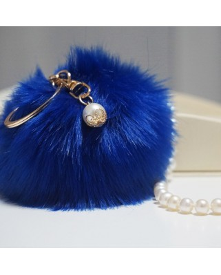 Fur Ball Bag Keychain Royal Blue
