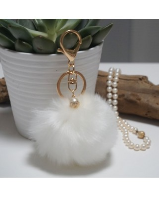 Fur Ball Bag Keychain White