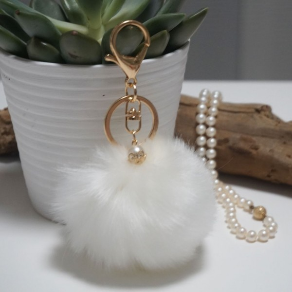Fur Ball Bag Keychain White