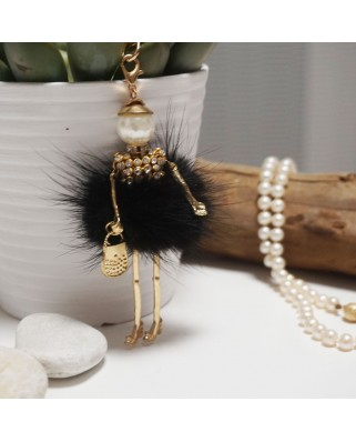 Fur Doll Bag Keychain Black