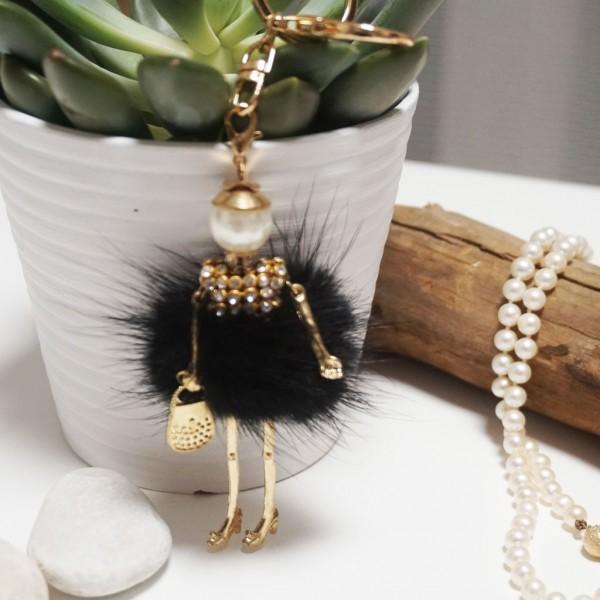 Fur Doll Bag Keychain Black
