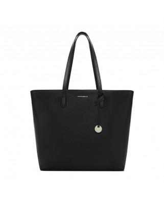Δερμάτινη τσάντα ώμου Clementine από saffiano δέρμα μαύρη