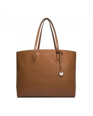 Δερμάτινη τσάντα ώμου Clementine από saffiano δέρμα ταμπά