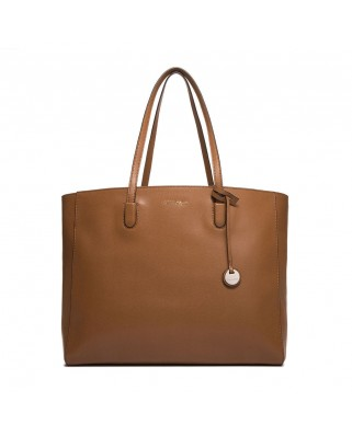 Clementine saffiano tabac leather bag
