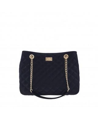 Δερμάτινη τσάντα ώμου Christina μαύρη