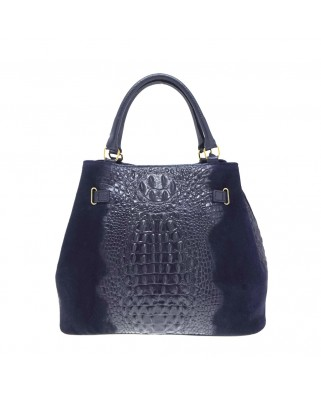 Aelia Suede and Crocodile Print Leather Blue