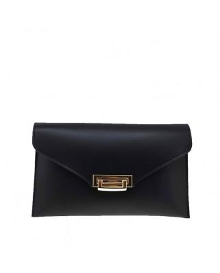Δερμάτινη τσάντα φάκελος μαύρη