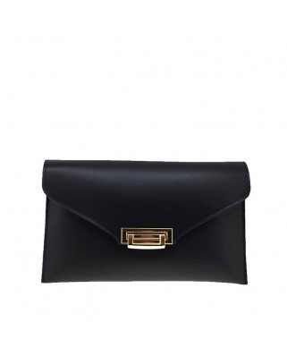 Leather Envelope Clutch Black