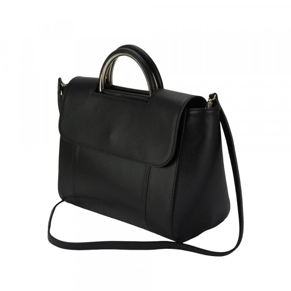 Melissa Leather Shoulder Bag Black