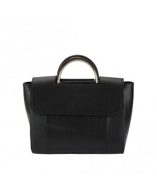 Δερμάτινη τσάντα ώμου - χειρός Melissa μαύρη