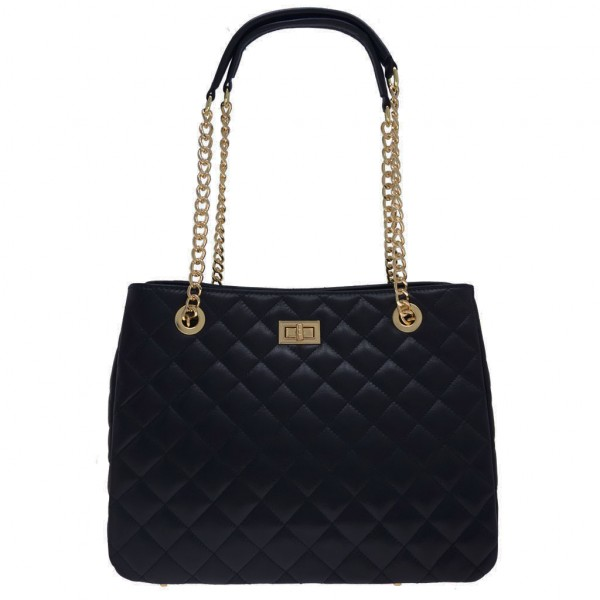 Christina Quilted Leather Bag Black