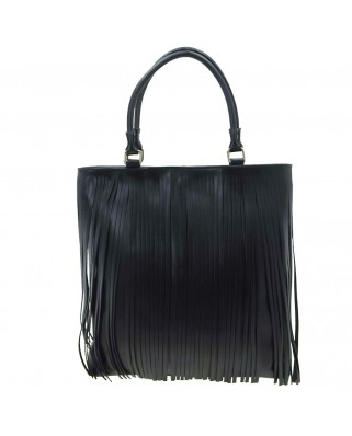 Polinetta Leather Shoulder Bag with Fringes Black