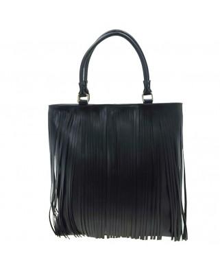 Polinetta Leather Shoulder Bag with Fringes Black