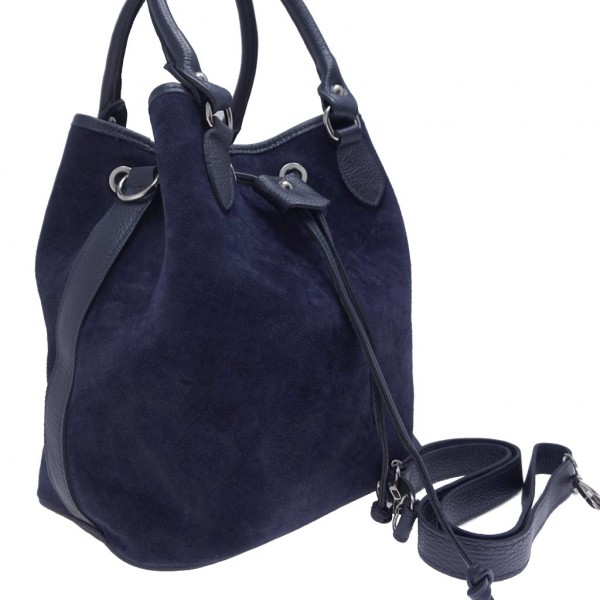 Suede δερμάτινη τσάντα ώμου Cerelia μπλε - Sisbags.gr a766b91ec7f